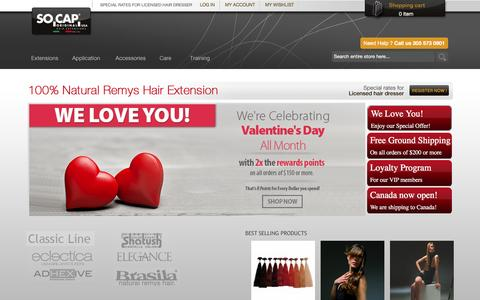 Screenshot of Home Page socaporiginalusa.com - Best Remy Hair Extension | wholesale Hair Extension  Socap Original USA - captured Feb. 15, 2016