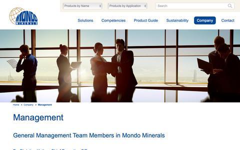 Screenshot of Team Page mondominerals.com - Management - Mondo Minerals - captured Nov. 19, 2018