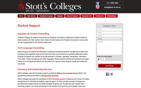 Screenshot of Support Page stotts.vic.edu.au - Student Support - captured Oct. 7, 2014