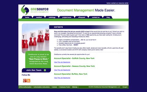 Screenshot of Jobs Page onesourcedoc.com - OneSource Document Management, Inc. - Careers - captured Sept. 29, 2016