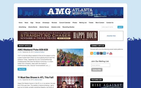 Screenshot of Home Page atlantamusicguide.com - Atlanta Music Guide | Concert calendar,  venues, tickets & reviews - captured Sept. 30, 2014
