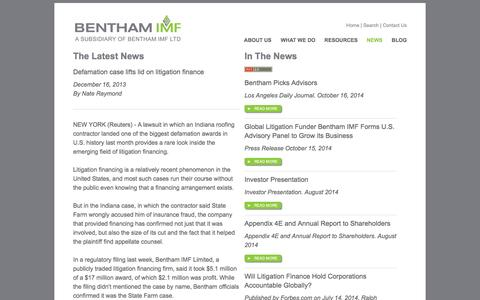 Screenshot of Press Page benthamimf.com - BENTHAM IMF News - Commercial Litigation Capital Funding - captured Oct. 29, 2014