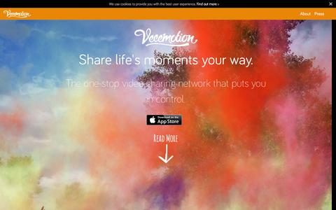Screenshot of Home Page veeemotion.com - Veeemotion : Share Life's Moments - Your Way - captured Dec. 5, 2015