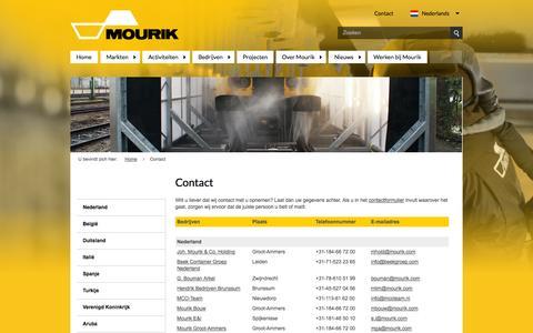 Screenshot of Contact Page mourik.com - Contact - captured Oct. 2, 2014