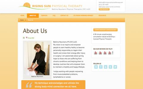 Screenshot of About Page risingsunphysicaltherapy.com - About Us - captured Sept. 30, 2014