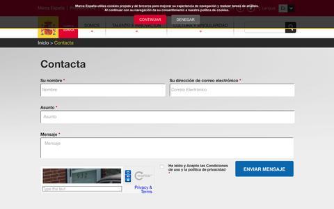 Screenshot of Contact Page marcaespana.es - Marca España | Contacta - captured Feb. 19, 2016