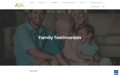 Screenshot of Testimonials Page postfl.org - Family Testimonials – POST - captured Sept. 27, 2018