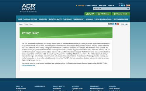 Screenshot of Privacy Page acr.org - Privacy Policy - American College of Radiology - captured Sept. 19, 2014