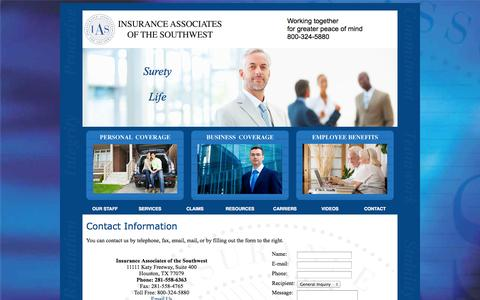 Screenshot of Contact Page Maps & Directions Page ins-ias.com - Contact Information for Insurance Associates of the Southwest in Houston, Austin, Dallas, San Antonio Texas - captured Oct. 23, 2014