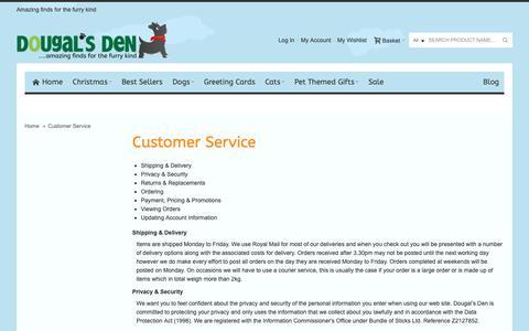 Screenshot of Support Page dougalsden.co.uk - Customer Service - captured Nov. 6, 2018