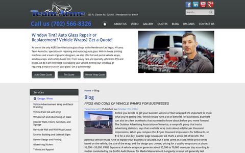 Screenshot of Blog teamacme.com - Window Tint, Auto Glass Repair and Vehicle Wraps in Henderson & Las Vegas, NV | Team Acme - captured Oct. 9, 2014