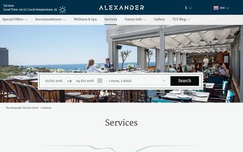 Screenshot of Services Page alexander.co.il - Services and Facilities - Alexander Hotel Tel Aviv - captured Oct. 3, 2018