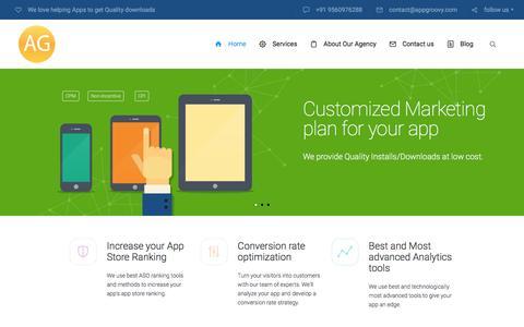 Screenshot of Home Page appgroovy.com - Mobile App Marketing agency I App Install ads I ASO I Delhi - captured Dec. 23, 2015