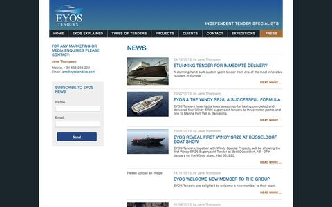 Screenshot of Press Page eyostenders.com - Media Center - captured Oct. 1, 2014