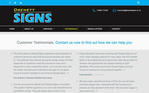 Screenshot of Testimonials Page drewettsigns.co.uk - Customer Testimonials. Contact us now to find out more. - captured Oct. 22, 2018