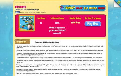 Screenshot of ohmybingo.com - Rio Bingo | £5 Free with No Deposit | 500% First Bonus - captured March 19, 2016
