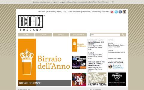 Screenshot of Home Page boxofficetoscana.it - Boxoffice Toscana - Home - captured Jan. 14, 2016