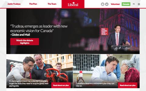 Screenshot of Home Page liberal.ca - Liberal Party of Canada - captured Sept. 19, 2015