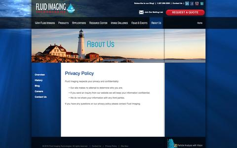 Screenshot of Privacy Page fluidimaging.com - Privacy Policy - Fluid Imaging Technologies - captured Sept. 16, 2014