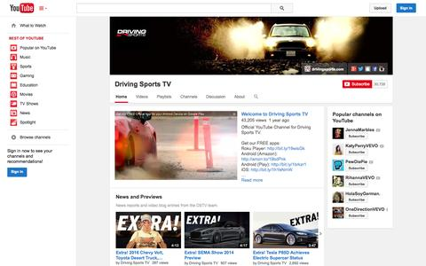 Screenshot of YouTube Page youtube.com - Driving Sports TV  - YouTube - captured Oct. 31, 2014