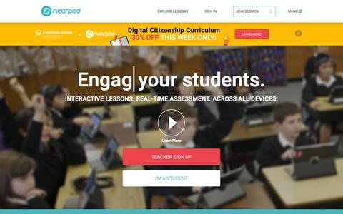 Screenshot of Home Page nearpod.com - Nearpod: Create, Engage, Assess through Mobile Devices. | Interactive Lessons | Mobile Learning | Apps for Education | iPads in the Classroom - captured Oct. 26, 2015