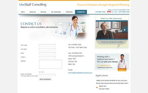 Screenshot of Contact Page medstaffconsulting.com - Contact Us - Medstaff Consulting - captured Oct. 27, 2014