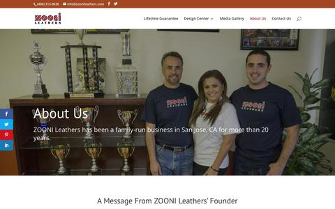 Screenshot of About Page zoonileathers.com - About Us - ZOONI Leathers - captured Sept. 21, 2018