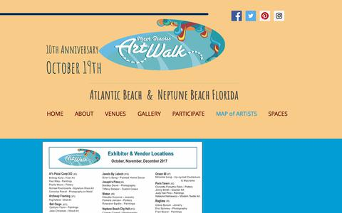 Screenshot of Maps & Directions Page nbaw.org - North Beaches Art Walk   MAP of ARTISTS - captured Oct. 22, 2017
