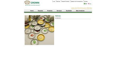 Screenshot of Press Page crownembalagens.com.br - Latas, Alumínio, Latinhas, Bebidas, Embalagens Metálicas, Tampas | News - Crown - captured June 4, 2016