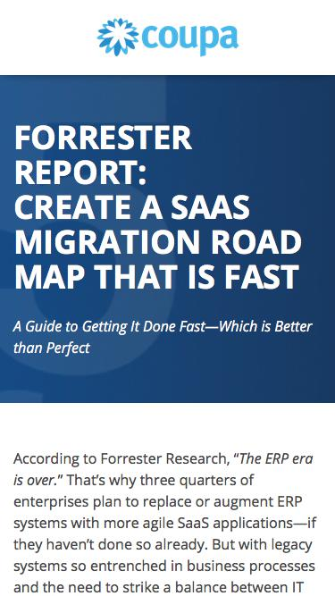 Forrester Report: Create a SaaS Migration Road Map | Replace or Augment Legacy ERP Systems | Coupa Software