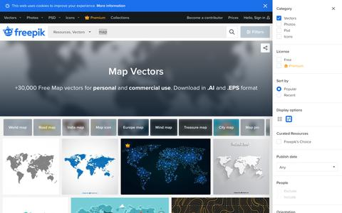 Screenshot of Maps & Directions Page freepik.com - Map vectors, +30,000 free files in .AI, .EPS format - captured Sept. 13, 2019
