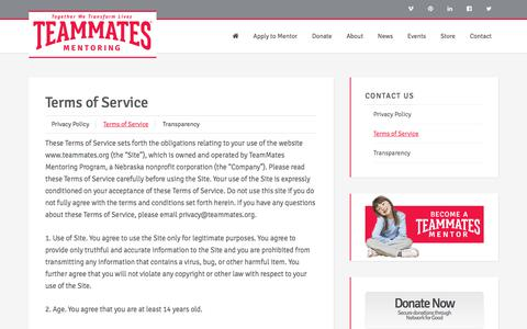 Screenshot of Terms Page teammates.org - Terms of Service | TeamMates Mentoring - captured Oct. 20, 2017