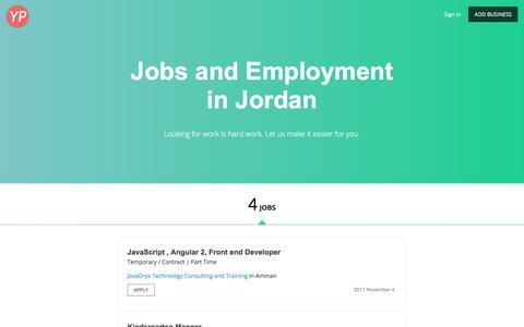 Screenshot of Jobs Page jordanyp.com - Jobs and Employment<br/> in Jordan - 4 Openings - captured Sept. 25, 2018