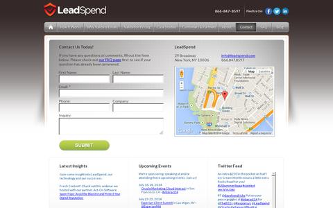Screenshot of Contact Page leadspend.com - Contact LeadSpend About Email Hygiene - captured July 19, 2014