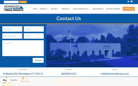 Screenshot of Contact Page advancedtorque.com - Contact Advanced Torque Products | Advanced Torque Products - captured Oct. 3, 2018