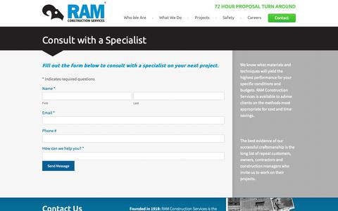 Screenshot of Contact Page ramservices.com - Contact RAM Construction Services - captured Oct. 19, 2018
