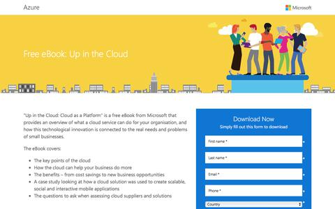Screenshot of Landing Page office.com - Free eBook: Up in the Cloud - captured Sept. 11, 2017