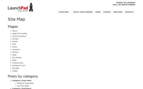 Screenshot of Site Map Page launchpadli.com - Site Map - LaunchPad - captured Jan. 26, 2017
