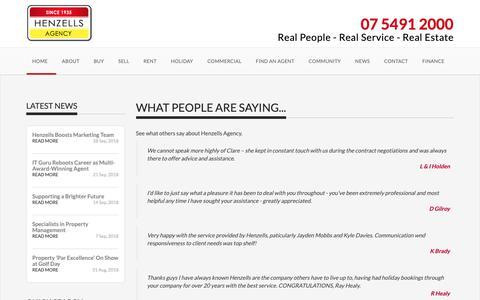 Screenshot of Testimonials Page henzells.com.au - Testimonials - Henzells Agency - Caloundra Real Estate - captured Sept. 28, 2018