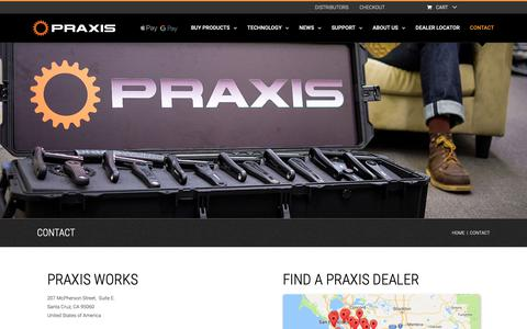 Screenshot of Contact Page praxiscycles.com - CONTACT - Praxis Works - captured Sept. 28, 2018