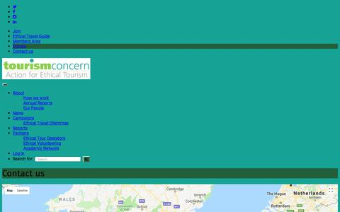 Screenshot of Contact Page tourismconcern.org.uk - Contact us - - captured Feb. 23, 2018