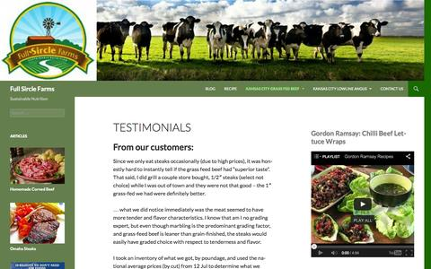 Screenshot of Testimonials Page fullsirclefarms.com - Testimonials - Full Sircle Farms - captured Sept. 30, 2014
