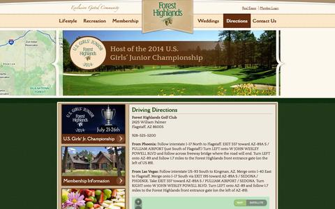 Screenshot of Maps & Directions Page fhgc.com - » Driving Directions - Forest Highlands - captured Oct. 6, 2014