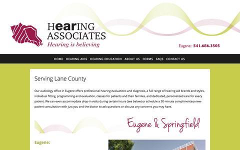 Screenshot of Locations Page eugenehearingassociates.com - Contact Us — Hearing Associates - captured May 11, 2017