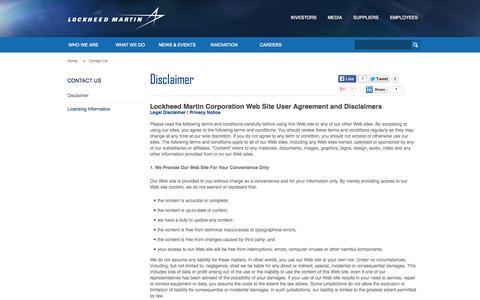 Screenshot of Privacy Page lockheedmartin.com - Disclaimer · Lockheed Martin - captured June 16, 2015