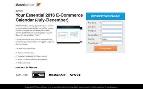 Screenshot of Landing Page channeladvisor.com - Your Essential 2016 E-Commerce Calendar (July-December) | ChannelAdvisor - captured March 15, 2017