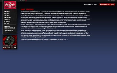 Screenshot of About Page rawlings.com - Rawlings - AboutPage - captured Sept. 19, 2014