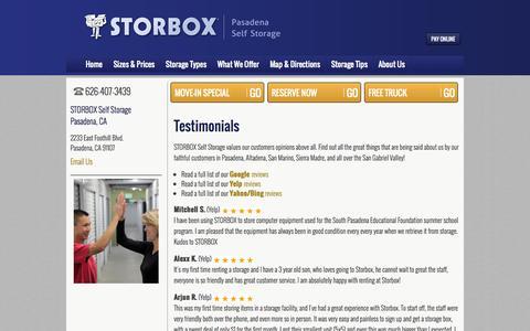 Screenshot of Testimonials Page storbox.com - Testimonials about STORBOX Self Storage - captured Oct. 5, 2014