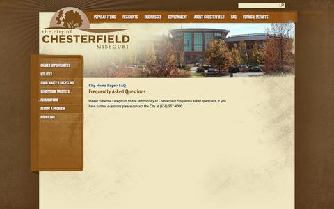 Screenshot of FAQ Page chesterfield.mo.us - City of Chesterfield, Missouri | Frequently Asked Questions - captured Oct. 2, 2014