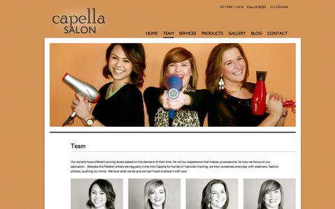Screenshot of Team Page capelladsm.com - Team | Capella - captured Oct. 1, 2014
